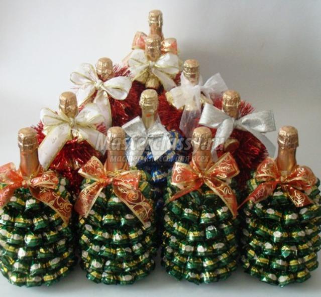 Новогодние подарки из шампанского и конфет своими руками